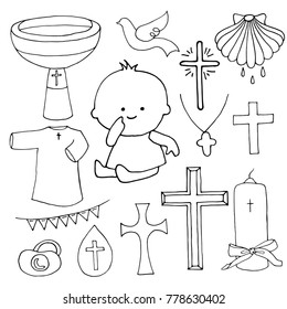 Outline christening set. Used for postcards, congratulations, wallpapers, prints, backgrounds.