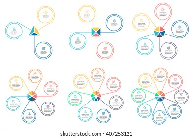 Outline circular infographic. Linear charts, diagrams with 3, 4, 5, 6, 7, 8 steps, options, parts, processes with petals. Vector thin line design element.