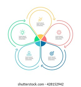 Outline circular infographic. Minimalistic diagram, chart, graph with 5 steps. Vector design element.
