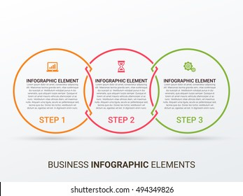 Outline circular infographic. Minimalistic diagram, chart, graph with 3 steps, options, parts, processes with arrows. Vector design element.