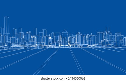 Outline city concept vector. Wire-frame style. The layers of visible and invisible lines. 3D illustration