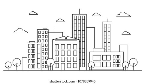 Outline city street landscape skyline concept with buildings, scyscrapers,  trees and clouds. Vector illustration. Editable stroke. Outline version. Isolated on white background. EPS 10