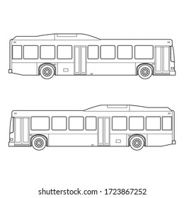 outline of city transportation bus automobile left and rignt side vector illustrations