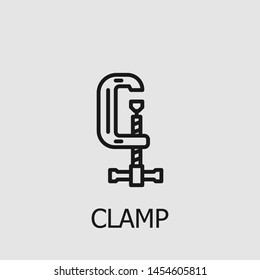 Outline clamp vector icon. Clamp illustration for web, mobile apps, design. Clamp vector symbol.