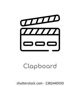outline clapboard vector icon. isolated black simple line element illustration from entertainment and arcade concept. editable vector stroke clapboard icon on white background