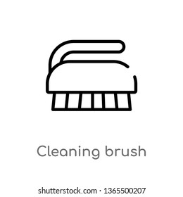 outline cleaning brush vector icon. isolated black simple line element illustration from miscellaneous concept. editable vector stroke cleaning brush icon on white background