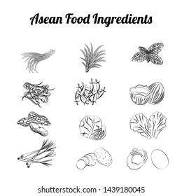 outline clip art of asean food ingredients set bundle include vegetables and meat in gradient cartoon design,vector illustration
