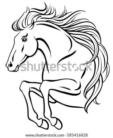 Outline Clipart Jumping Horse Long Mane Stock Vector Royalty Free