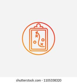 Outline clipboard icon,gradient illustration,vector tactick sign,plan symbol