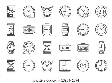 Outline clock icons. Line time, 24 hours clocks and hourglass icon vector set
