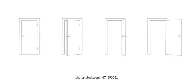 Outline closed and opened doors. Front view door vector.