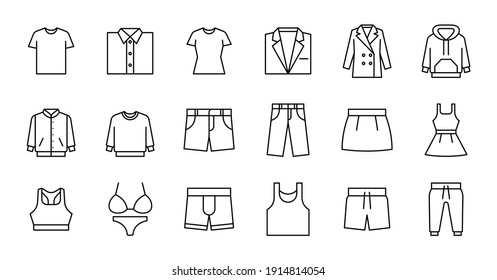 Outline Clothing Icon set. Contains such Icons as T-shirt, jacket, dress,  and more