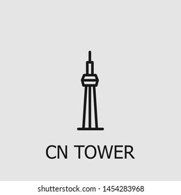 Outline cn tower vector icon. Cn tower illustration for web, mobile apps, design. Cn tower vector symbol.