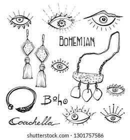 Outline Coachella Boho Style Doodle Clip Art, Eye, juwellery accessories Bohemian Design Icons vector collection