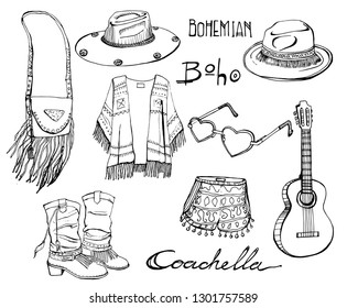 Outline Coachella festival fashion clothes spring and summer bohemian style vector elements