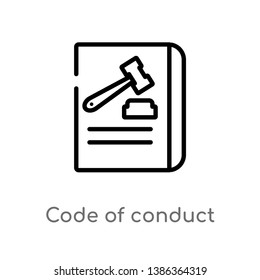 outline code of conduct vector icon. isolated black simple line element illustration from gdpr concept. editable vector stroke code of conduct icon on white background