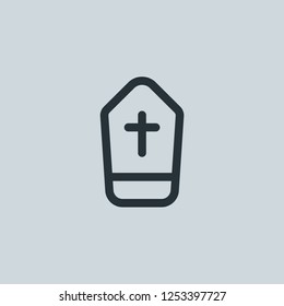 Outline coffin vector icon. Coffin illustration for web, mobile apps, design. Coffin vector symbol.