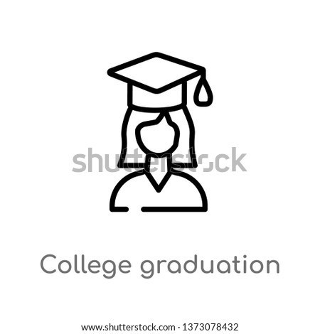 Outline College Graduation Vector Icon Isolated Stock Vector