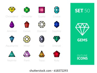 Outline color icons set in thin modern design style, flat line stroke vector symbols - gems collection