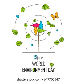 Outline colorful concept for World Environment Day poster or banner. Paper windmill vector illustration with leaves, drops of water and butterfly