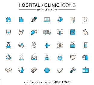 Outline colorful icons set. Hospital clinic and medical care. Editable stroke. Vector.