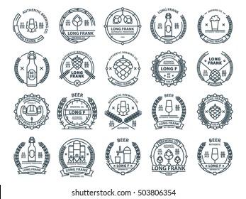 Outline colorless vector beer emblems, beer symbols, beer icons, pub labels,  beer badges collection.