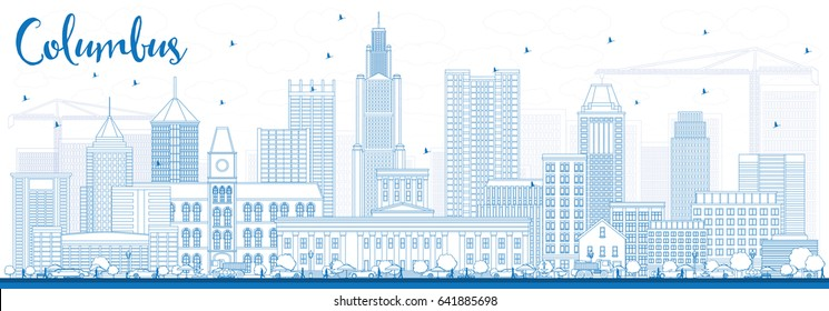 Outline Columbus Skyline with Blue Buildings. Vector Illustration. Business Travel and Tourism Concept with Modern Architecture. Image for Presentation Banner Placard and Web Site.