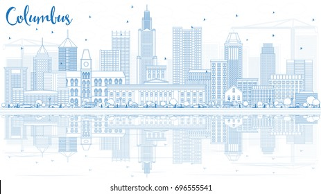 Outline Columbus Skyline with Blue Buildings and Reflections. Vector Illustration. Business Travel and Tourism Concept with Modern Architecture. Image for Presentation Banner Placard and Web Site.
