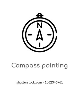 outline compass pointing north east vector icon. isolated black simple line element illustration from airport terminal concept. editable vector stroke compass pointing north east icon on white