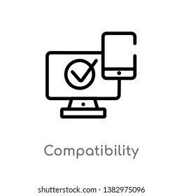 outline compatibility vector icon. isolated black simple line element illustration from general-1 concept. editable vector stroke compatibility icon on white background