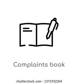 outline complaints book vector icon. isolated black simple line element illustration from communications concept. editable vector stroke complaints book icon on white background