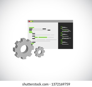 outline computer technology code program and gear illustration design over a white background