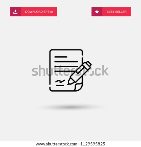 Outline Contract Icon Isolated On Grey Stock Vector Royalty Free