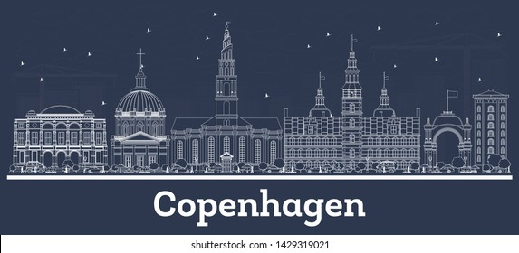 Outline Copenhagen Denmark City Skyline with White Buildings. Vector Illustration. Business Travel and Tourism Concept with Historic Architecture. Copenhagen Cityscape with Landmarks.