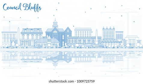Outline Council Bluffs Iowa City Skyline with Blue Buildings and Reflections. Vector Illustration. Business Travel and Tourism Illustration with Historic Architecture.