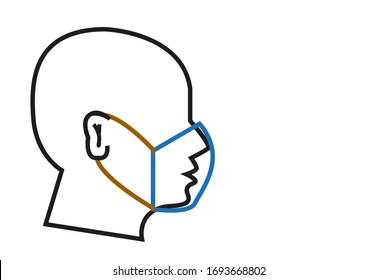Outline crosscut of a person wearing a surgical or medical mask concept. Editable Clip Art.