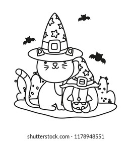 outline cute cat with hat and pumpkin with bats