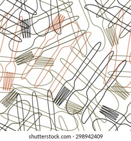 outline cutlery seamless pattern