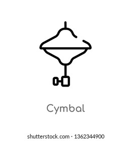 outline cymbal vector icon. isolated black simple line element illustration from music concept. editable vector stroke cymbal icon on white background