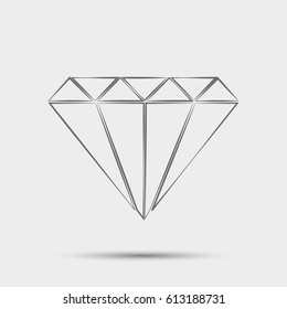 Outline Daimond web icon ilustration vector symbol