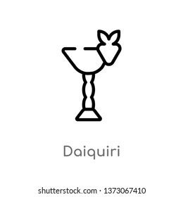 outline daiquiri vector icon. isolated black simple line element illustration from drinks concept. editable vector stroke daiquiri icon on white background