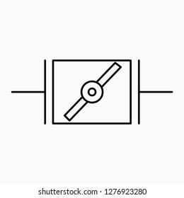 Outline damper symbol vector icon