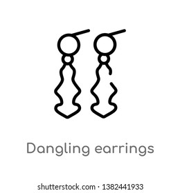 outline dangling earrings vector icon. isolated black simple line element illustration from fashion concept. editable vector stroke dangling earrings icon on white background