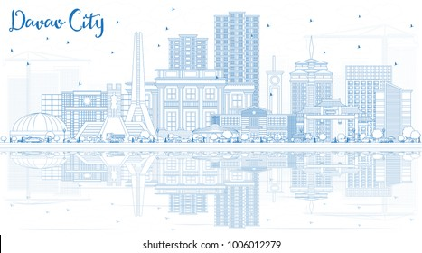 Outline Davao City Philippines Skyline with Blue Buildings and Reflections. Vector Illustration. Business Travel and Tourism Illustration with Modern Architecture. Davao City Cityscape with Landmarks.