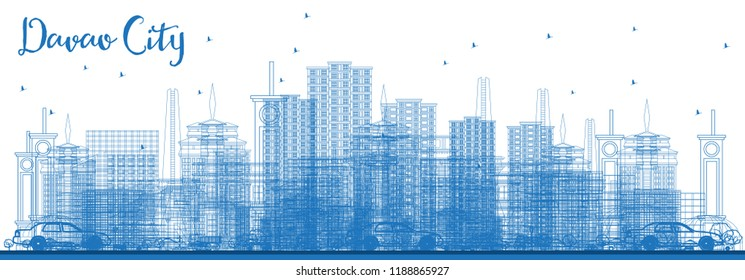 Outline Davao City Philippines Skyline with Blue Buildings. Vector Illustration. Business Travel and Tourism Illustration with Modern Architecture. Davao City Cityscape with Landmarks.
