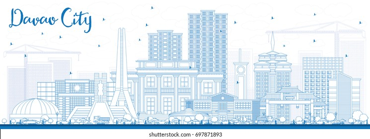 Outline Davao City Philippines Skyline with Blue Buildings. Vector Illustration. Business Travel and Tourism Illustration with Modern Architecture.