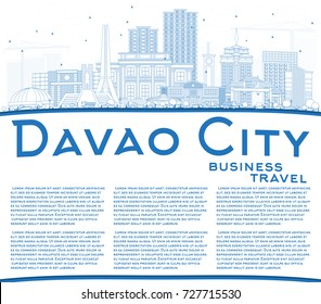 Outline Davao City Philippines Skyline with Blue Buildings and Copy Space. Vector Illustration. Business Travel and Tourism Illustration with Modern Architecture.