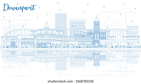 Outline Davenport Iowa Skyline with Blue Buildings and Reflections. Vector Illustration. Business Travel and Tourism Illustration with Historic Architecture. Davenport Cityscape with Landmarks.