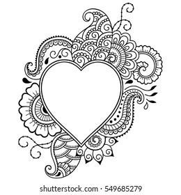 Outline decorative doodle flower in mehndi style. Floral frame in the shape of heart. Element for design for Valentine's Day.