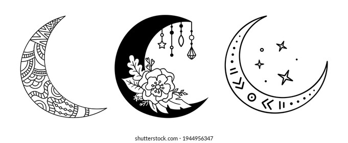 Outline decorstive crescent moon. Magic, mystic vector design element. Set of abstract moon silhouette. Boho celestial illustration. Drawn symbols.